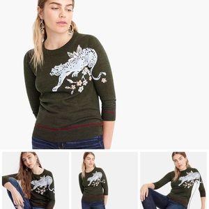 J.Crew Tippi Sweater With Intarsia Cheetah Design